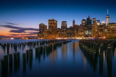 New York City skyline at dusk royalty free stock photo