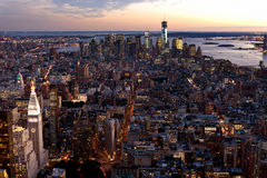 New York city skyline at dusk Royalty Free Stock Photos