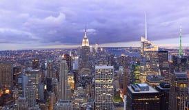 New York City skyline at dusk, NY, USA Royalty Free Stock Photography
