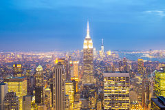 New York City skyline dusk. Royalty Free Stock Photography