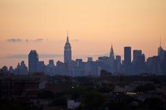New York City skyline at dusk Stock Photos