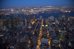 New York City Skyline East River Night. United Nations Stock Photo