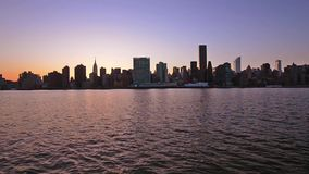 New York City Skyline on the East River stock video