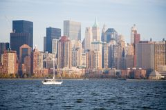 New York City Skyline in Fall Sunset royalty free stock photos