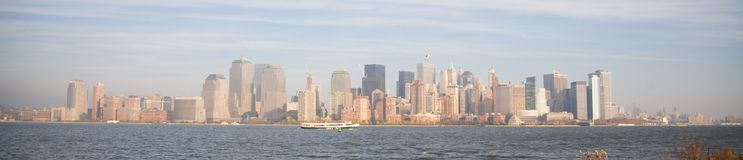 New York City Skyline in Fall Sunset Stock Photography