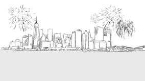 New York City Skyline Firework Sketch. Hand drawn vector Outline Artwork Stock Images