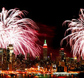 The New York City skyline and fireworks Stock Photo