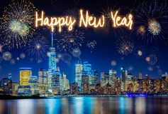 New York City Skyline with Flashing Fireworks celebration Royalty Free Stock Image
