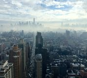 New York City skyline in fog Stock Photo