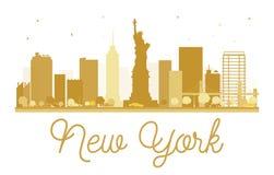 New York City skyline golden silhouette. Stock Photo