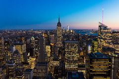 Free New York City Skyline In Manhattan Downtown With Empire State Building And Skyscrapers At Night USA Royalty Free Stock Photo - 143067805