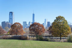 The New York City skyline from the Liberty State Park Royalty Free Stock Images