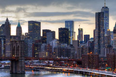 New York City Skyline Lights at Sunset Stock Image