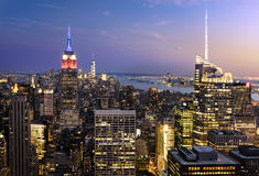 New York City skyline with lights Royalty Free Stock Photo