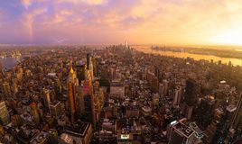 New York City skyline with Manhattan skyscrapers at dramatic stormy sunset, USA. royalty free stock images