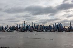 New York City Skyline Morning Sun and Ferry Crossing stock photos