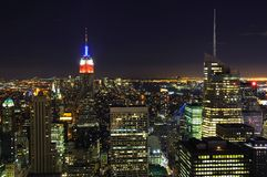 New York City Skyline at Night Stock Photography