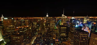 New York City skyline at night Royalty Free Stock Photos