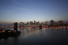 New York City skyline by night royalty free stock photos