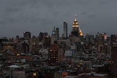 New York City Skyline at night Stock Images