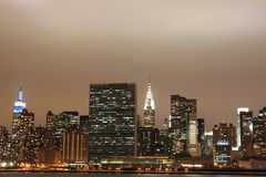New York City skyline at Night Lights Stock Photo