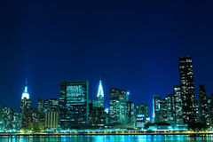 New York City skyline at Night Lights stock images