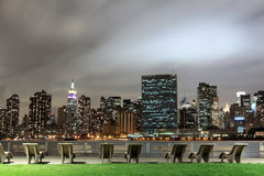 New York City skyline at Night Lights Stock Photography