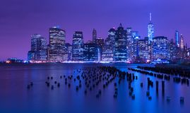 New York city skyline at night, Manhattan, USA Royalty Free Stock Photo