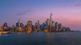 New York City Skyline at Night stock footage