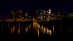 New York City skyline night with reflection Royalty Free Stock Photography