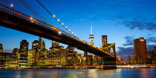 New york city skyline by night Stock Images