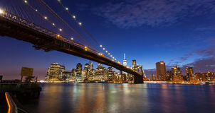 New york city skyline by night Royalty Free Stock Photo