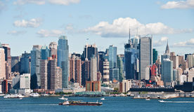New york city skyline over hudson river Royalty Free Stock Photos