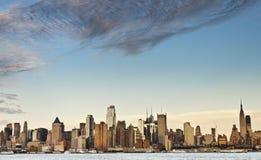 New york city skyline over hudson river Stock Photo
