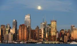 New york city skyline over hudson river Royalty Free Stock Photo