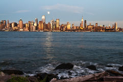 New york city skyline over hudson river Stock Image