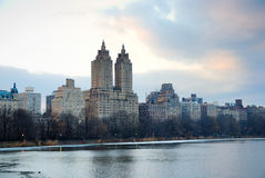 New York City Skyline over lake in Central Park Stock Photos
