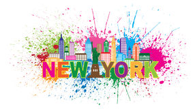 New York City Skyline Paint Splatter Illustration Stock Image
