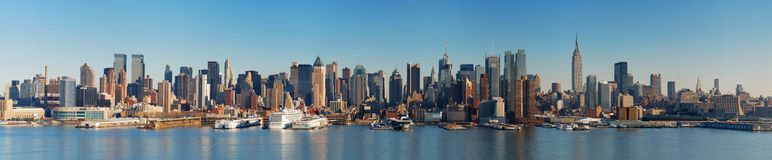 New York City Skyline panorama. Over Hudson river with boat and skyscraper Royalty Free Stock Images