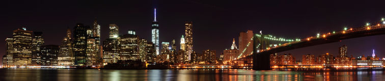 New York City skyline panorama with Brooklyn Bridge Royalty Free Stock Photo