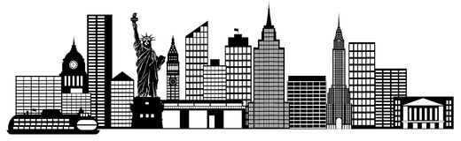 New York City Skyline Panorama Clip Art. New York City Skyline Panorama Black and White Silhouette Clip Art Illustration Royalty Free Stock Image