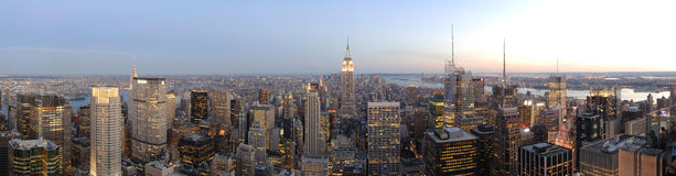 New York Skyline Panorama at Dusk. New York City Skyline Panorama from Top of the Rock Observation Deck, located in midtown Manhattan at historic Rockefeller Stock Photo