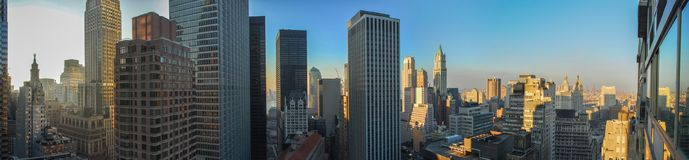New York City Skyline. Panoramic view of the New York City skyline of downtown Manhattan in the Financial District Stock Photo