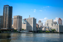 New York City Skyline. This is a picture of Mid-town east Manhattan, taken from Roosevelt Island Royalty Free Stock Photo
