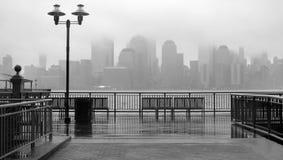 New York City skyline on a rainy day. Black and white photo of New York City skyline on a rainy day stock photos