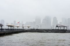 New York City skyline on a rainy day Royalty Free Stock Image
