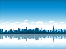Free New York City Skyline Reflect On Water Royalty Free Stock Image - 17265766