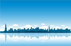 New York City skyline reflect on water vector illustration