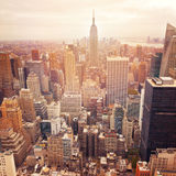 New York City skyline with retro filter effect, United States Royalty Free Stock Images