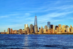 New York City skyline right before sunset. This is the lower Manhattan skyline in warm light right before sunset Royalty Free Stock Images